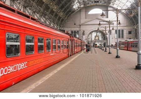 MOSCOW, RUSSIA - MAY, 14 2015: Aeroexpress red Train on Kiyevskaya railway station,  Kievskiy vokzal