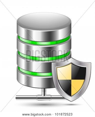Database Protection Icon. Vector Illustration
