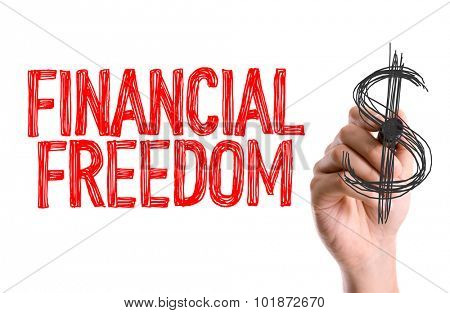 Hand with marker writing: Financial Freedom