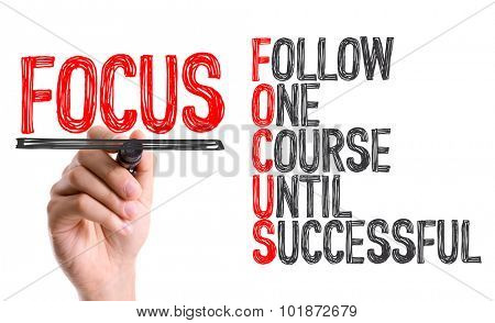 Hand with marker writing: Focus Acronym