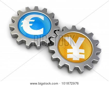 Gears with euro and Yen (clipping path included)