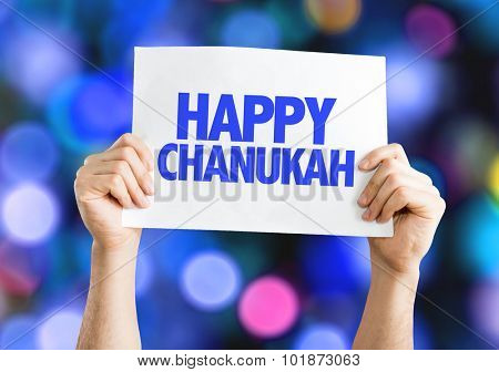 Happy Chanukah placard with bokeh background