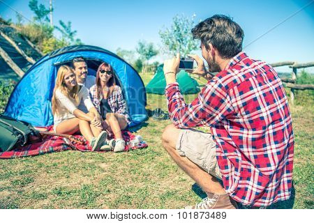 Friends In A Campsite