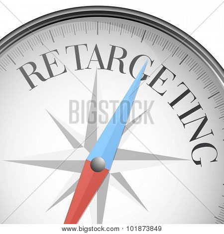 detailed illustration of a compass with Retargeting text, eps10 vector