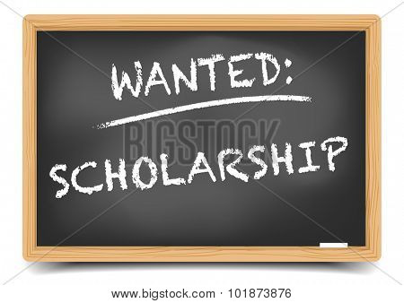 detailed illustration of a blackboard with Wanted Scholarship text, eps10 vector, gradient mesh included