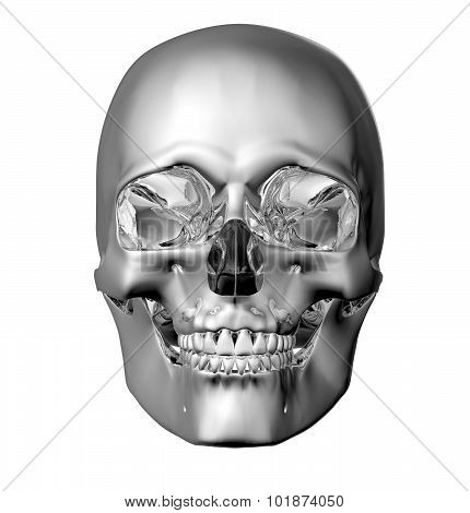 Metal Scull Isolated On White With Clipping Path