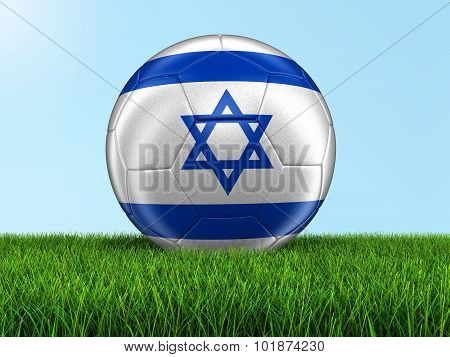Soccer football with Israeli flag
