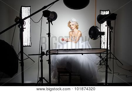 Professional Photography Studio Showing Behind The Scenes Lights On Bride Model