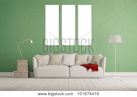 Living room with white three piece triptychon canvas on a wall (3D Rendering)