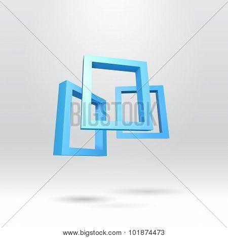 Three blue rectangular 3D frames