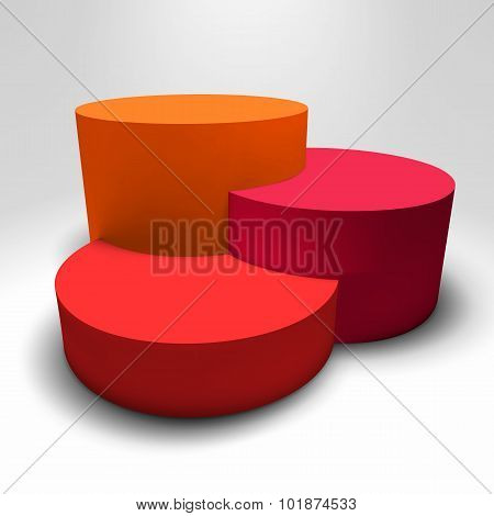 Infographic vector 3D pedestal with colorful columns