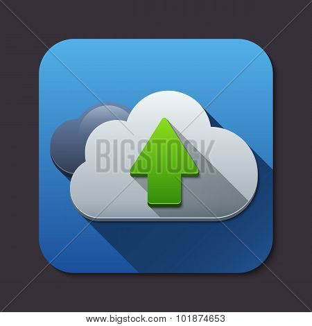 Vector Cloud Computing Upload Icon With Long Shadow