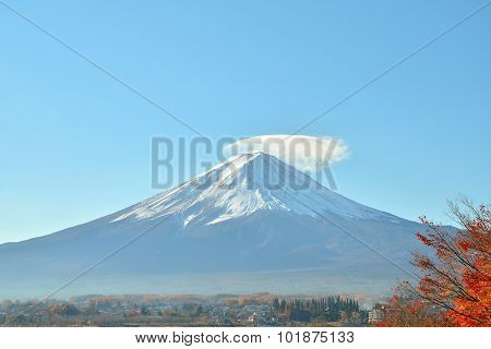 Mount Fuji And Red Maple Tree In Autumn At Kawaguchiko Lake Japan