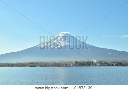 Mount Fuji In Autumn At Kawaguchiko Lake Japan