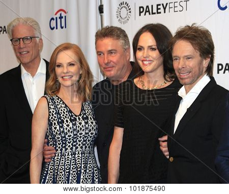 LOS ANGELES - SEP 16:  Ted Danson, Marg Helgenberger, W Petersen, Jorja Fox, J Bruckheimer at the Fall TV Preview -