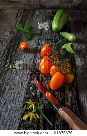 Fresh Vegetables On Wooden Surface