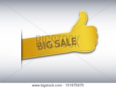 Thumb Up Bookmark Or Banner With The Inscription Big Sale