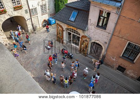 Riga, Latvia, 25-august-2015: View From Above Of Old Medieval Streets, Swedish Gate And Tourists. Ri
