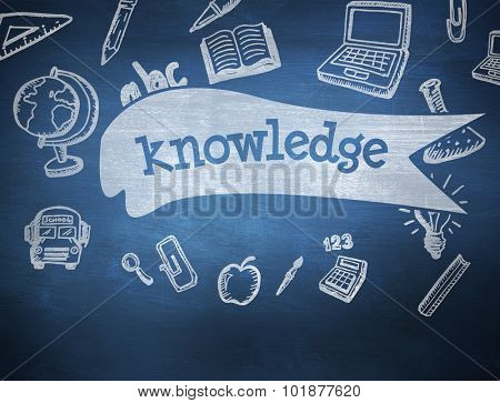 The word knowledge and education doodles against blue chalkboard