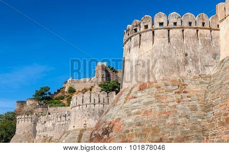 Fortress Wall In The Kumbhalgarh Fort, Rajasthan, India, Asia