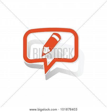 Note message sticker, orange