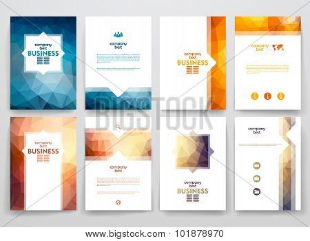 Set of brochures in poligonal style on business theme