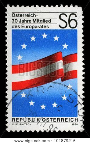 AUSTRIA - CIRCA 1986: stamp printed by Austria dedicated to 30 years as a member of the Council of Europe , circa 1986
