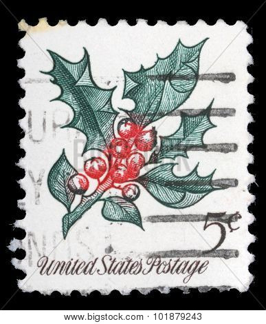 UNITED STATES OF AMERICA - CIRCA 1964: A Christmas postage stamp printed in USA, circa 1964