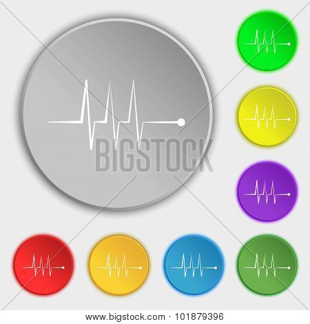 Cardiogram Monitoring Sign Icon. Heart Beats Symbol. Symbols On Eight Flat Buttons. Vector