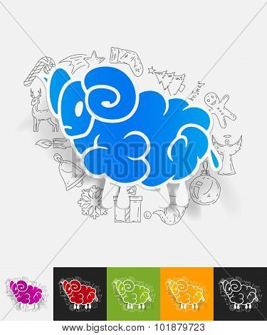 sheep paper sticker with hand drawn elements
