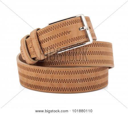 Men beige belt isolated on white.