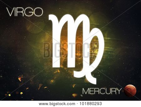 Zodiac sign - Virgo. Cosmos background