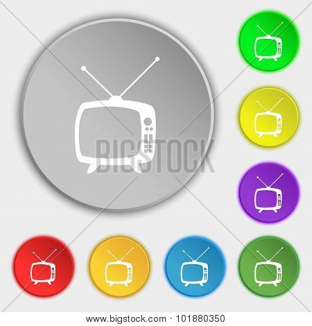 Retro Tv Mode Sign Icon. Television Set Symbol. Symbols On Eight Flat Buttons. Vector
