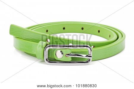 Green woman belt isolated on white background.