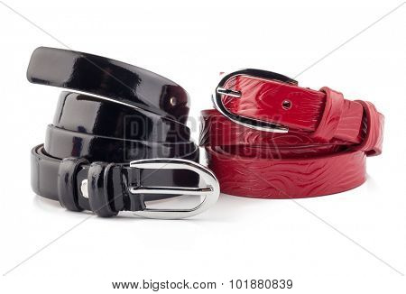 Red and black women style belt isolated on white background.