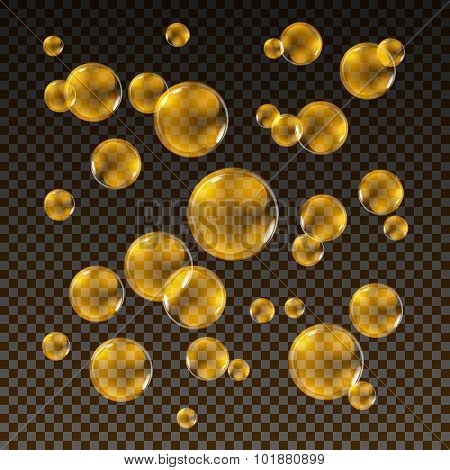 Transparent Gold Soap Bubbles Vector Set On Plaid Background. Sphere Ball, Design Water And Foam