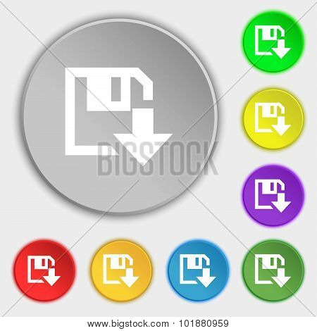 Floppy Icon. Flat Modern Design. Symbols On Eight Flat Buttons. Vector