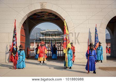 Guard Of Gyeongbokgung Palace In Seoul, South Korea