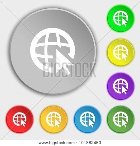Internet Sign Icon. World Wide Web Symbol. Cursor Pointer. Symbols On Eight Flat Buttons. Vector