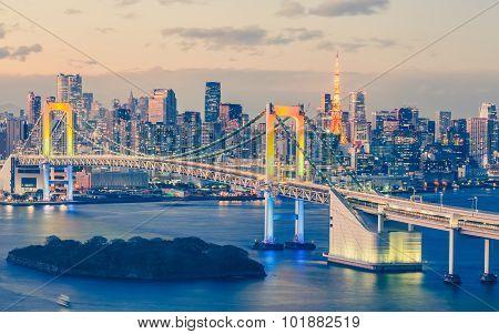 Tokyo bay and Tokyo rainbow bridge