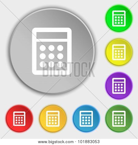 Calculator Sign Icon. Bookkeeping Symbol. Symbols On Eight Flat Buttons. Vector