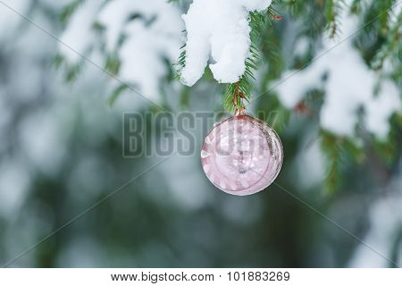 Outdoor Christmas pink sphere mirror bauble ornament design hanging on snowy spruce twig