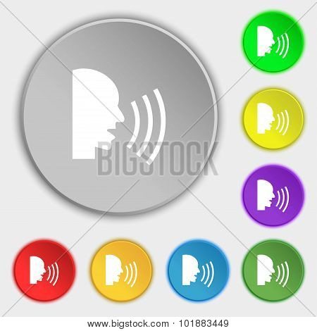 Talking Flat Modern Web Icon. Symbols On Eight Flat Buttons. Vector