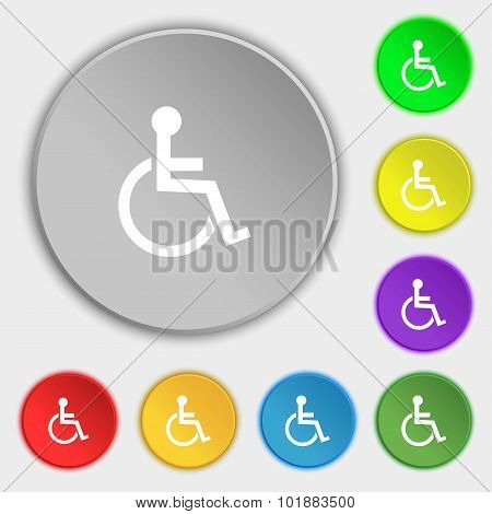 Disabled Sign Icon. Human On Wheelchair Symbol. Handicapped Invalid Sign. Symbols On Eight Flat Butt