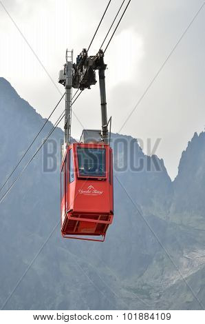 Ropeway from Skalnate Pleso to Lomnicky Peak, Slovakia.
