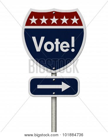 American Vote Highway Road Sign