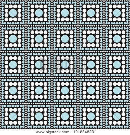 Blue, Black And White Polka Dot Square Abstract Design Tile Pattern Repeat Background