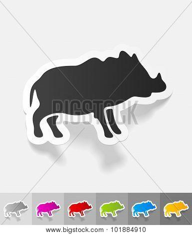 realistic design element. boar