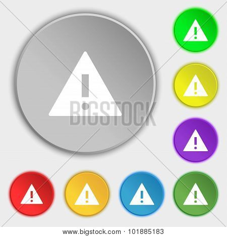 Attention Sign Icon. Exclamation Mark. Hazard Warning Symbol. Symbols On Eight Flat Buttons. Vector