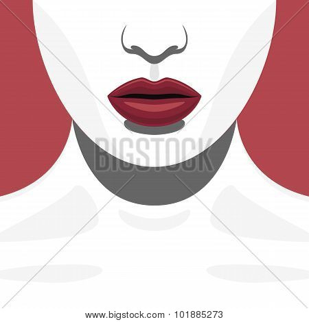 Fashion Beauty Female Model with red Lips
